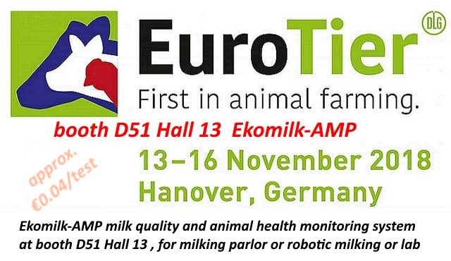 Ekomilk AMP milk quality and animal health mini-lab system at Eurotier Germany November 2018