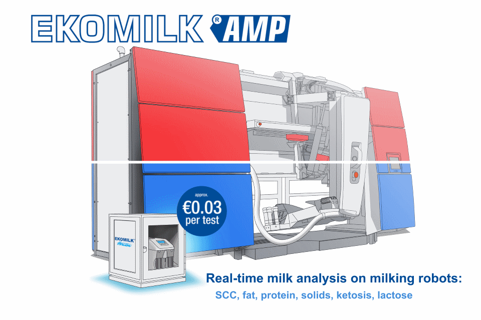 Ekomilk - AMP direct connection to milking robot (simulation) for SCC milk fat protein solids ketosis